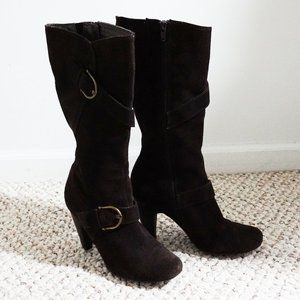 Dark Brown Suede Tall Boots with Heels